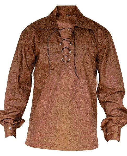 4XL Size Jacobite Ghillie Kilt Shirt Brown Cotton Jacobean Shirt with Leather Cord for Men