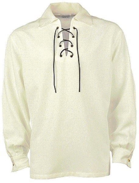 2XL Size Jacobite Ghillie Kilt Shirt Off White Cotton Jacobean Shirt with Leather Cord for Men