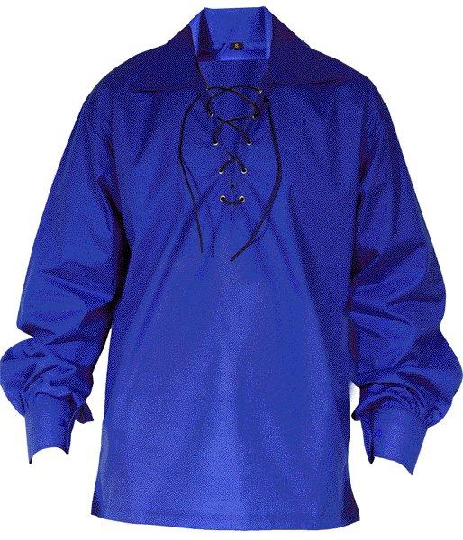 Medium Size Jacobite Ghillie Kilt Shirt Royal Blue Cotton Jacobean Shirt with Leather Cord for Men