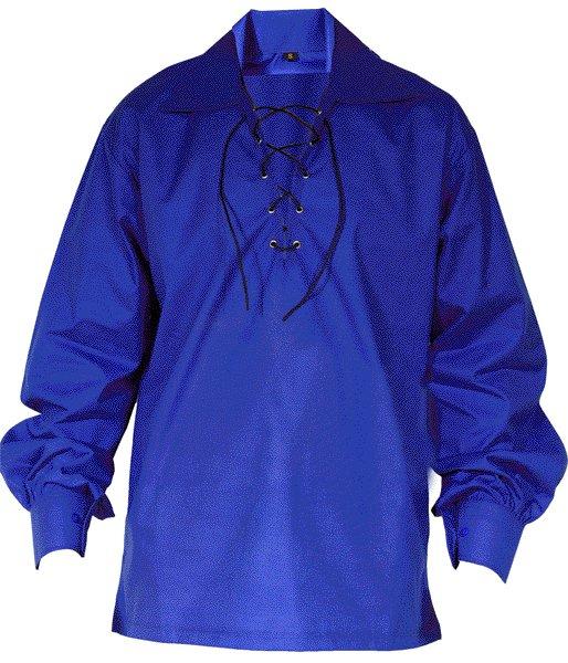 Large Size Jacobite Ghillie Kilt Shirt Royal Blue Cotton Jacobean Shirt with Leather Cord for Men