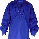XL Size Jacobite Ghillie Kilt Shirt Royal Blue Cotton Jacobean Shirt with Leather Cord for Men