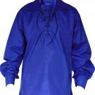 4XL Size Jacobite Ghillie Kilt Shirt Royal Blue Cotton Jacobean Shirt with Leather Cord for Men