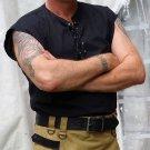 3XL Size Mens Jacobite Ghillie Kilt Shirt Black Cotton Sleeveless Shirt with Leather Cord