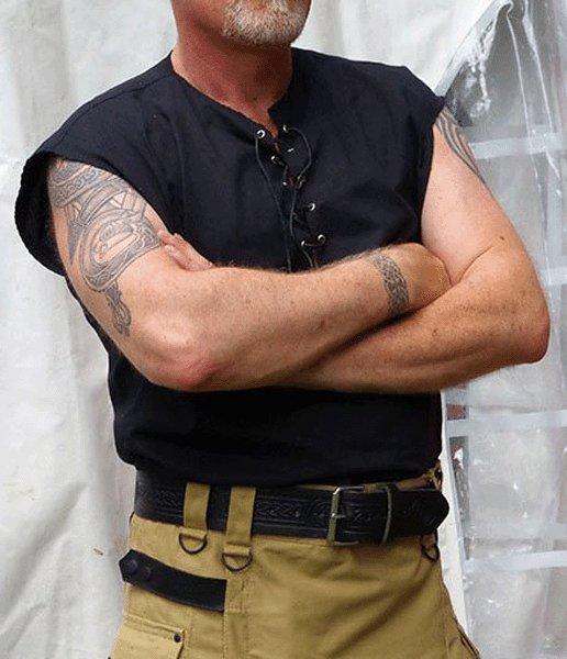 5XL Size Mens Jacobite Ghillie Kilt Shirt Black Cotton Sleeveless Shirt with Leather Cord