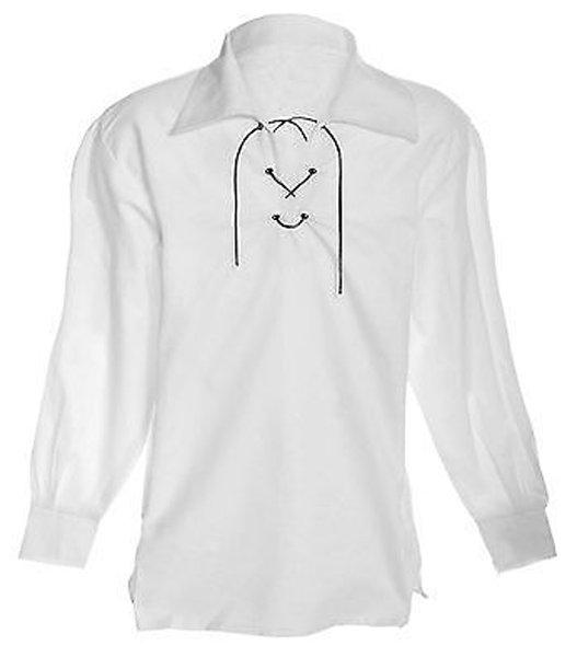 4XL Size Jacobite Ghillie Kilt Shirt White Cotton Jacobean Shirt for Men with Leather Cord