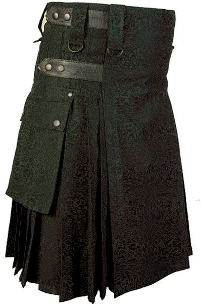 32 Waist Size Black Cotton Kilt Utility Fashion Kilt for Men with Leather Straps Cargo Pockets