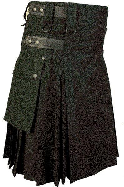 44 Waist Size Black Cotton Kilt Utility Fashion Kilt for Men with Leather Straps Cargo Pockets
