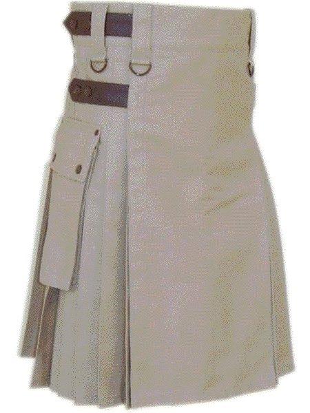 Utility Khaki Cotton Kilt 34 Waist Size Fashion Kilt for Men with Leather Straps Cargo Pockets
