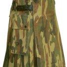 Utility Army Camo Cotton Kilt 60 Waist Size Fashion Kilt for Men with Leather Straps Cargo Pockets