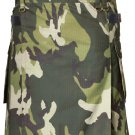 Mens Green Army Camo Cotton Kilt 56 Waist Size Fashion Kilt with Leather Straps Cargo Pockets