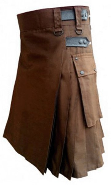 Utility Brown Cotton Kilt 56 Waist Size Fashion Kilt for Men with Leather Straps Cargo Pockets
