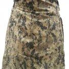 Mens Utility Digital Camo Cotton Kilt 26 Waist Size Fashion Kilt with Leather Straps Cargo Pockets