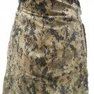 Mens Utility Digital Camo Cotton Kilt 40 Waist Size Fashion Kilt with Leather Straps Cargo Pockets