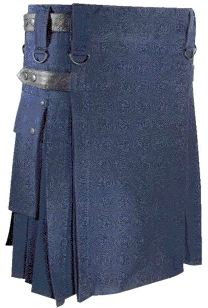 Mens Utility Navy Blue Cotton Kilt 46 Waist Size Fashion Kilt with Leather Straps Cargo Pockets