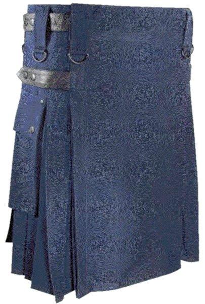 Mens Utility Navy Blue Cotton Kilt 52 Waist Size Fashion Kilt with Leather Straps Cargo Pockets