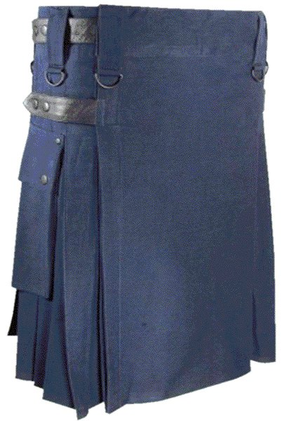 Mens Utility Navy Blue Cotton Kilt 58 Waist Size Fashion Kilt with Leather Straps Cargo Pockets