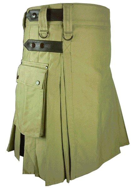 Utility Olive Green Cotton Kilt 56 Waist Size Fashion Kilt for Men with Leather Straps Cargo Pockets