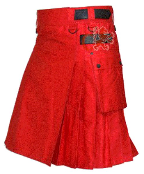 Utility Red Cotton Kilt 28 Waist Size Fashion Kilt for Men with Leather Straps Cargo Pockets