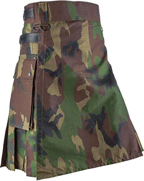 Utility Wood Land Cotton Kilt 56 Waist Size Fashion Kilt for Men with Leather Straps Cargo Pockets