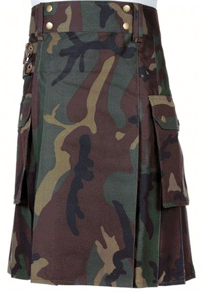 Mens Jungle Camouflage Utility Combat Kilt Punk Goth Style 40 Size kilt with Cargo Pockets