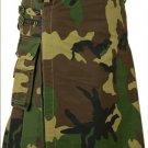 Army Camo Deluxe Cotton Kilt 48 Size Unisex Outdoor Utility Kilt Tactical Kilt with Cargo Pockets