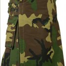 Army Camo Deluxe Cotton Kilt 56 Size Unisex Outdoor Utility Kilt Tactical Kilt with Cargo Pockets