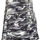 Urban white & Black Camo Cotton Kilt 30 Size Unisex Outdoor Utility Kilt with Cargo Pockets