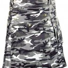 Urban white & Black Camo Cotton Kilt 34 Size Unisex Outdoor Utility Kilt with Cargo Pockets