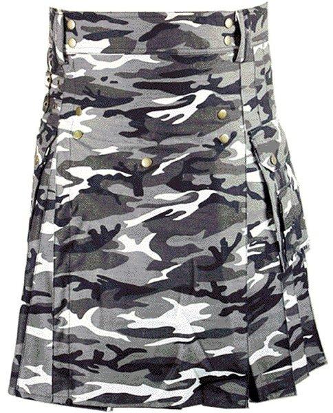 Urban white & Black Camo Cotton Kilt 36 Size Unisex Outdoor Utility Kilt with Cargo Pockets