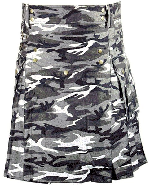 Urban white & Black Camo Cotton Kilt 38 Size Unisex Outdoor Utility Kilt with Cargo Pockets