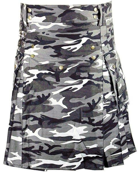 Urban white & Black Camo Cotton Kilt 42 Size Unisex Outdoor Utility Kilt with Cargo Pockets