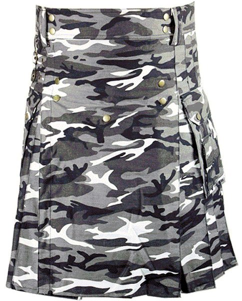 Urban white & Black Camo Cotton Kilt 52 Size Unisex Outdoor Utility Kilt with Cargo Pockets