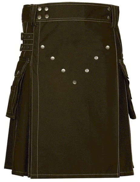 Unisex Adult Scottish Kilt Highland Cargo Brown Cotton Utility Kilt with Straps Made to Fit 56 Waist