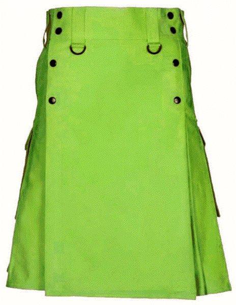 Tactical Parrot Green Deluxe Utility Cotton Kilt 58 Size Cargo Pocket Kilt Scottish Kilt