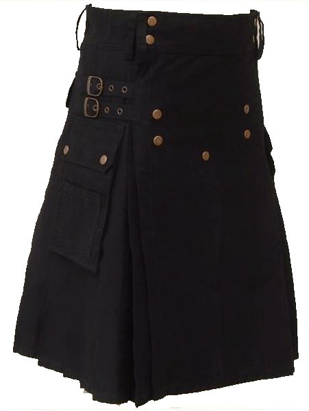 28 Size Black Scottish Utility cotton Kilt Working Kilt with Cargo Pockets and Front Brass Buttons