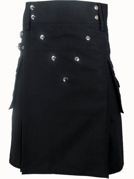 Working Kilt with V Shape Front Buttons Style 52 Size Black Scottish Cotton Kilt for Men