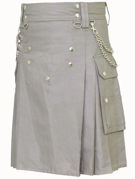 Classic Gray Utility Kilt 46 Size Modern Kilt Fashion Kilt for Men Tactical grey Deluxe Cotton Kilt
