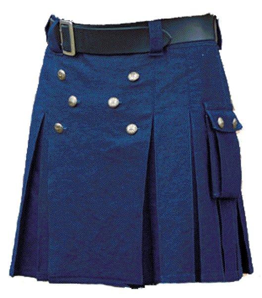 New Handmade Mens Utility Royal Blue Cotton Kilt 32 Size Working Blue Kilt Outdoor Utility Kilt