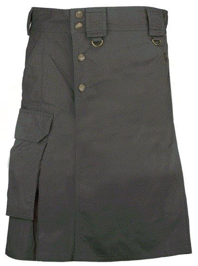 Black Cargo Pocket Kilt for Elegant Men 48 Size Utility Black Cotton Kilt