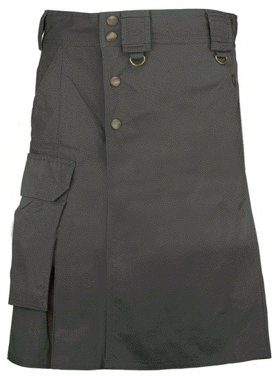 Black Cargo Pocket Kilt for Elegant Men 52 Size Utility Black Cotton Kilt