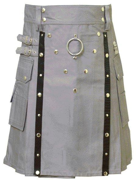 New Stylish Utility Gray Cotton Kilt 46 Size V Shape Chrome Buttons on Front Apron Modern Kilt
