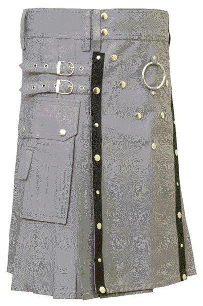 New Stylish Utility Gray Cotton Kilt 52 Size V Shape Chrome Buttons on Front Apron Modern Kilt