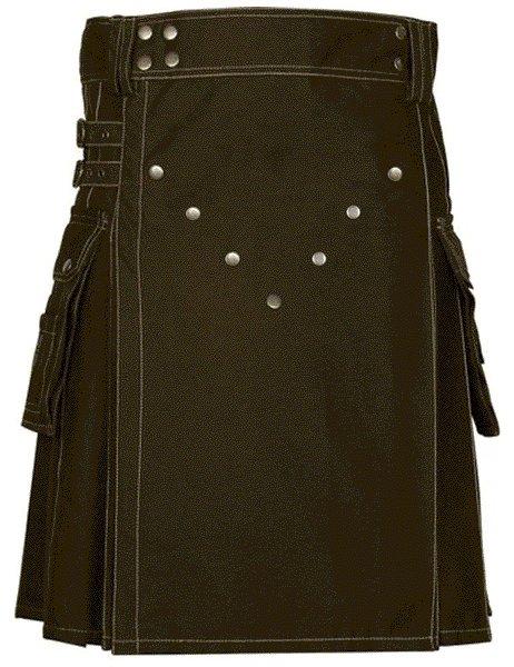 New Style Utility Brown Cotton Kilt 52 Size V Shape Chrome Buttons on Front Apron Modern Brown Kilt