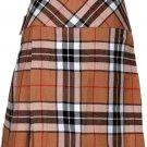 Ladies Knee Length Billie Kilt Mod Skirt, 28 Waist Size Camel Thompson Kilt Skirt Tartan Pleated