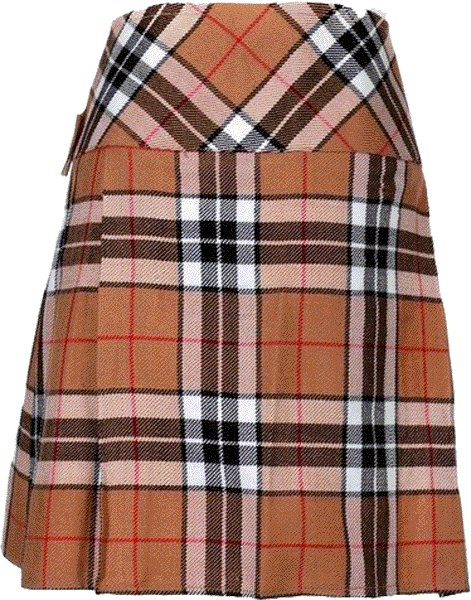 Ladies Knee Length Billie Kilt Mod Skirt, 40 Waist Size Camel Thompson Kilt Skirt Tartan Pleated