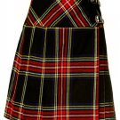 Ladies Knee Length Billie Kilt Mod Skirt, 30 Waist Size Black Stewart Kilt Skirt Tartan Pleated