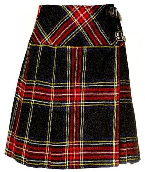 Ladies Knee Length Billie Kilt Mod Skirt, 36 Waist Size Black Stewart Kilt Skirt Tartan Pleated