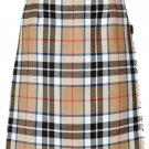 Ladies Full Length Kilted Skirt, 28 Waist Size Camel Thompson Tartan Pleated Kilt-Skirt