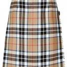 Ladies Full Length Kilted Skirt, 32 Waist Size Camel Thompson Tartan Pleated Kilt-Skirt