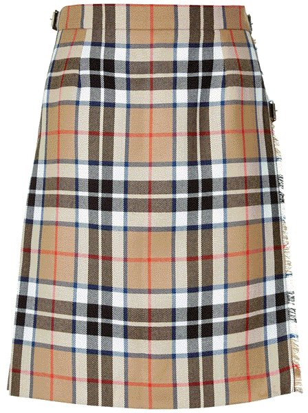 Ladies Full Length Kilted Skirt, 34 Waist Size Camel Thompson Tartan Pleated Kilt-Skirt